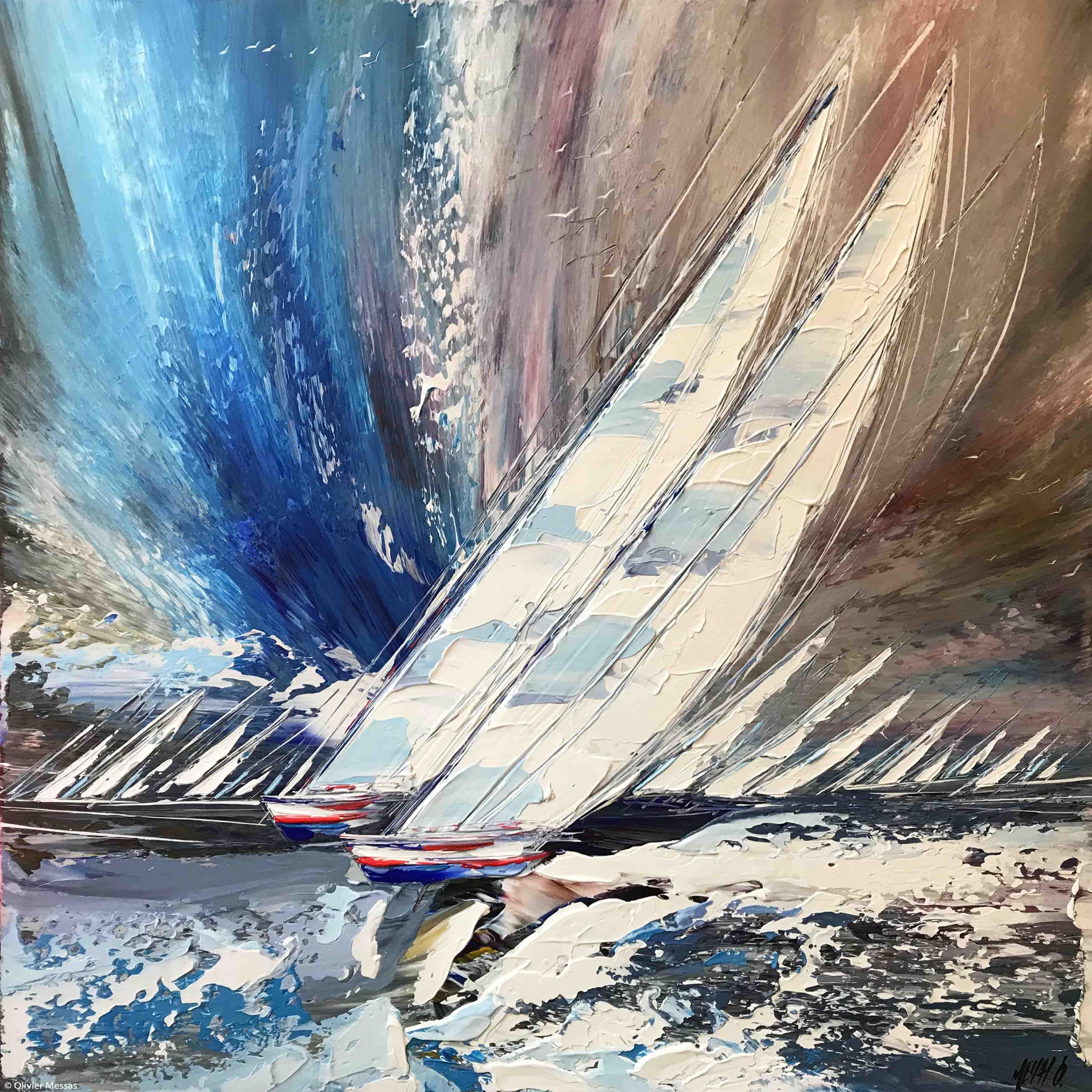 Ensemble en mer..., 80x80cm
