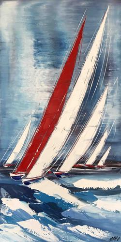 Le voilier rouge... II, 100x50cm