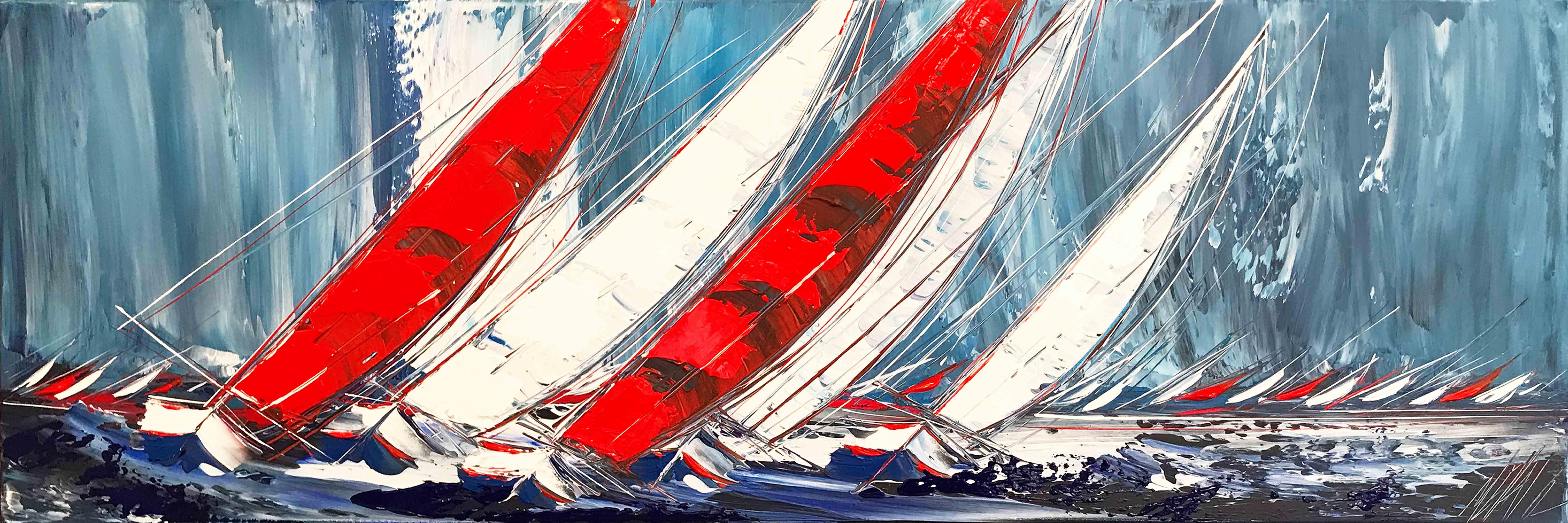 Les deux voiliers rouges...   40x120