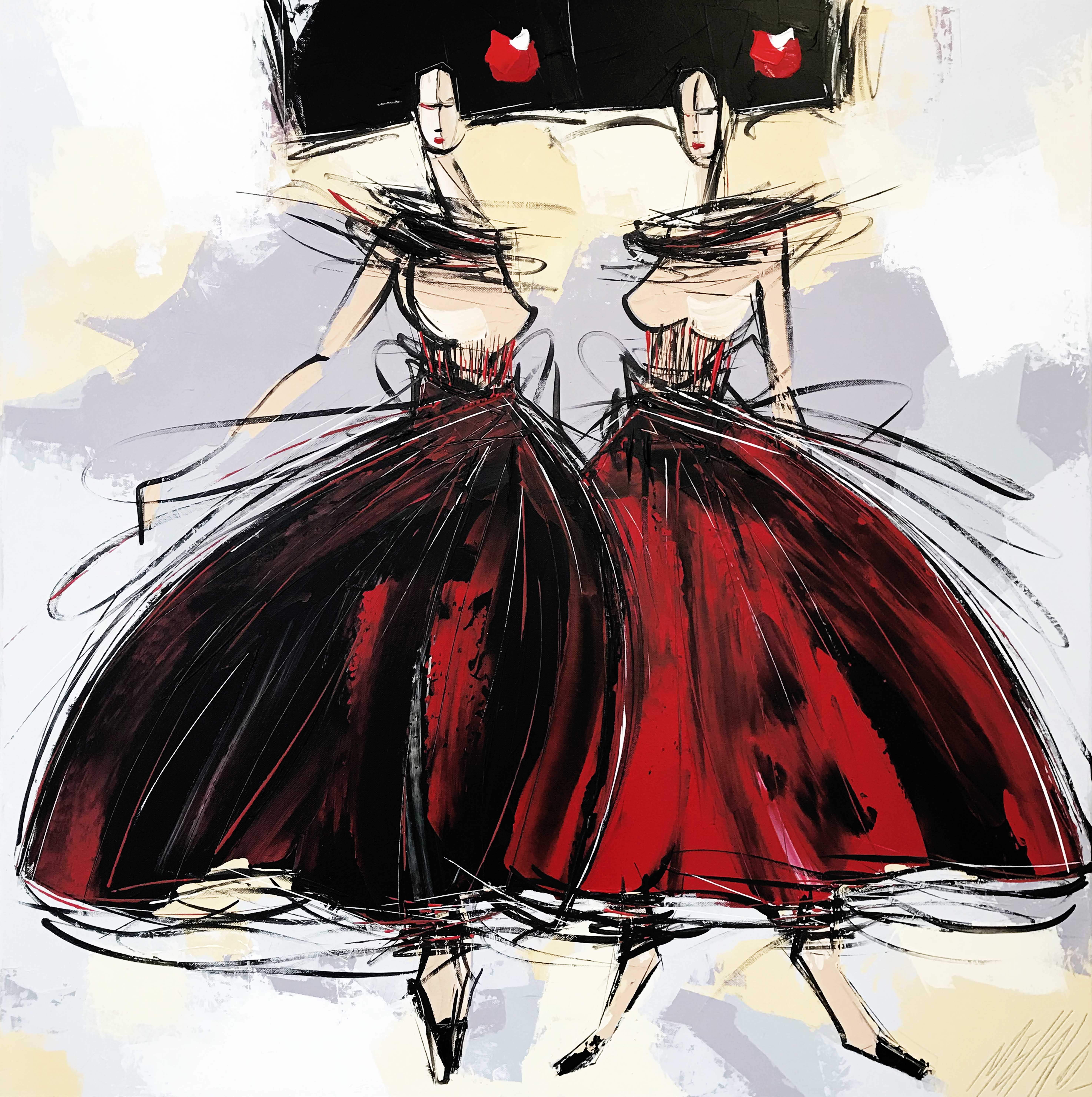 Les 2 Geishas... | 80x80cm