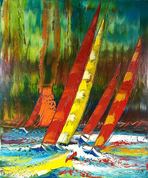 Sous une pluie de couleurs... | 120x100cm