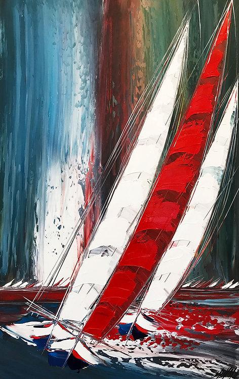 Voilier rouge à l'horizon... | 95x60cm