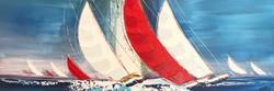 Le grand voilier rouge II, 50x150cm
