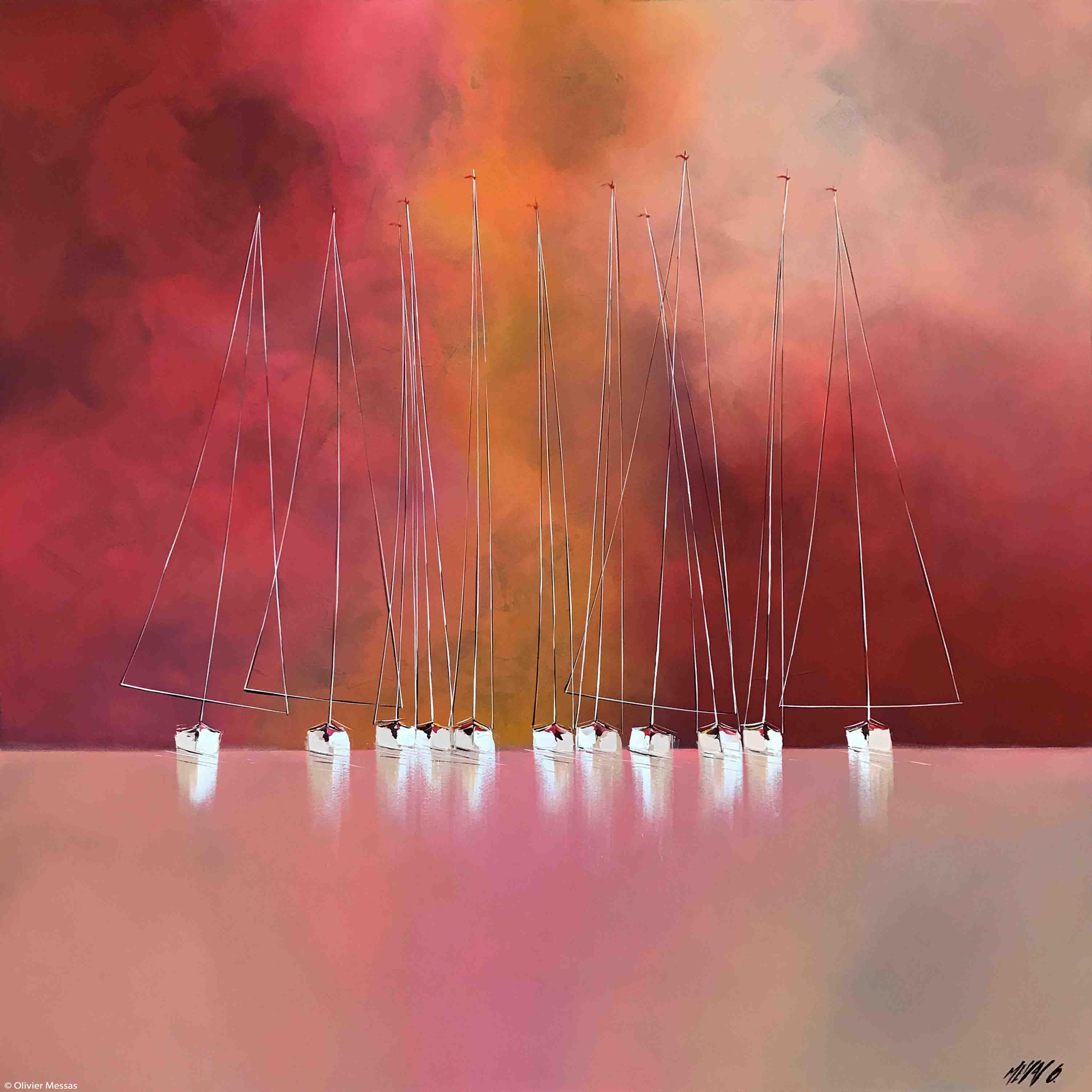 Horizon en rouge..., 120x120cm