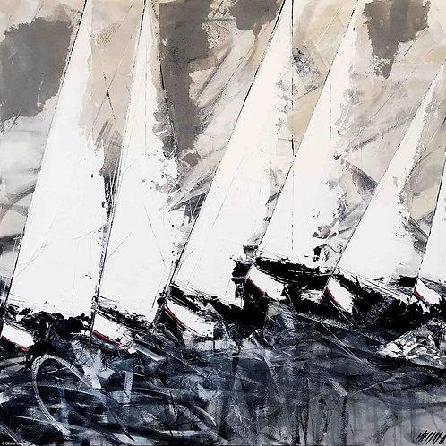 Le chant des vagues et des voiles... | 120x120cm