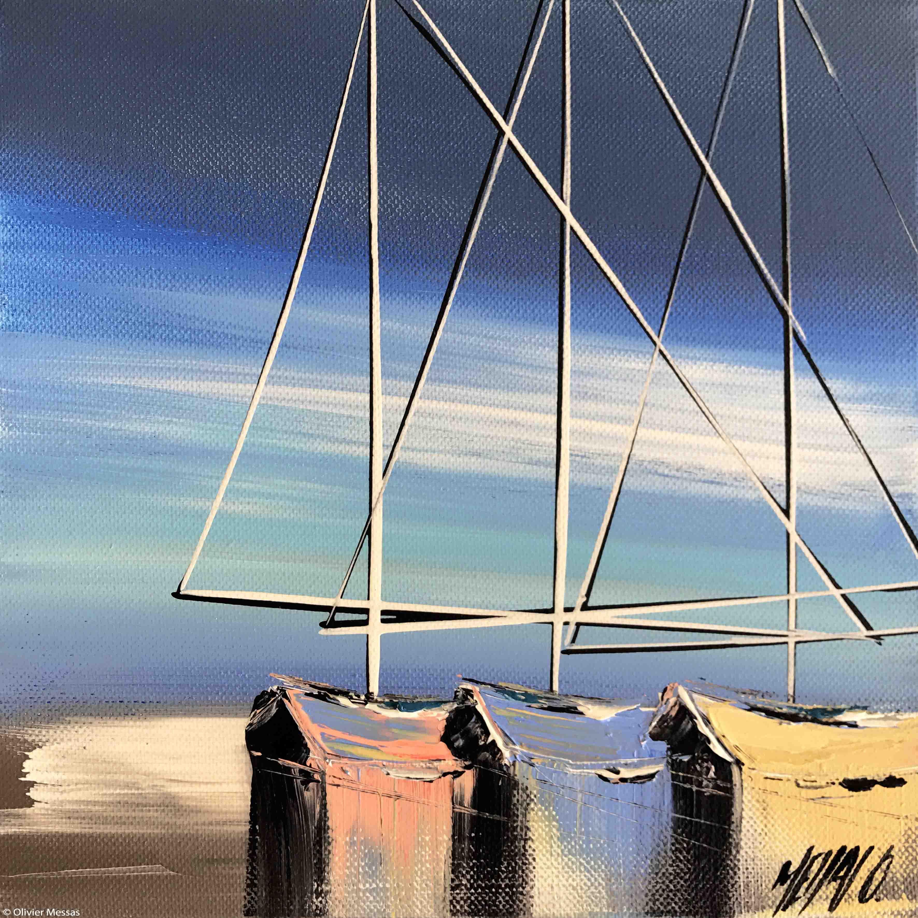 Reflets de voilier..., 20x20cm