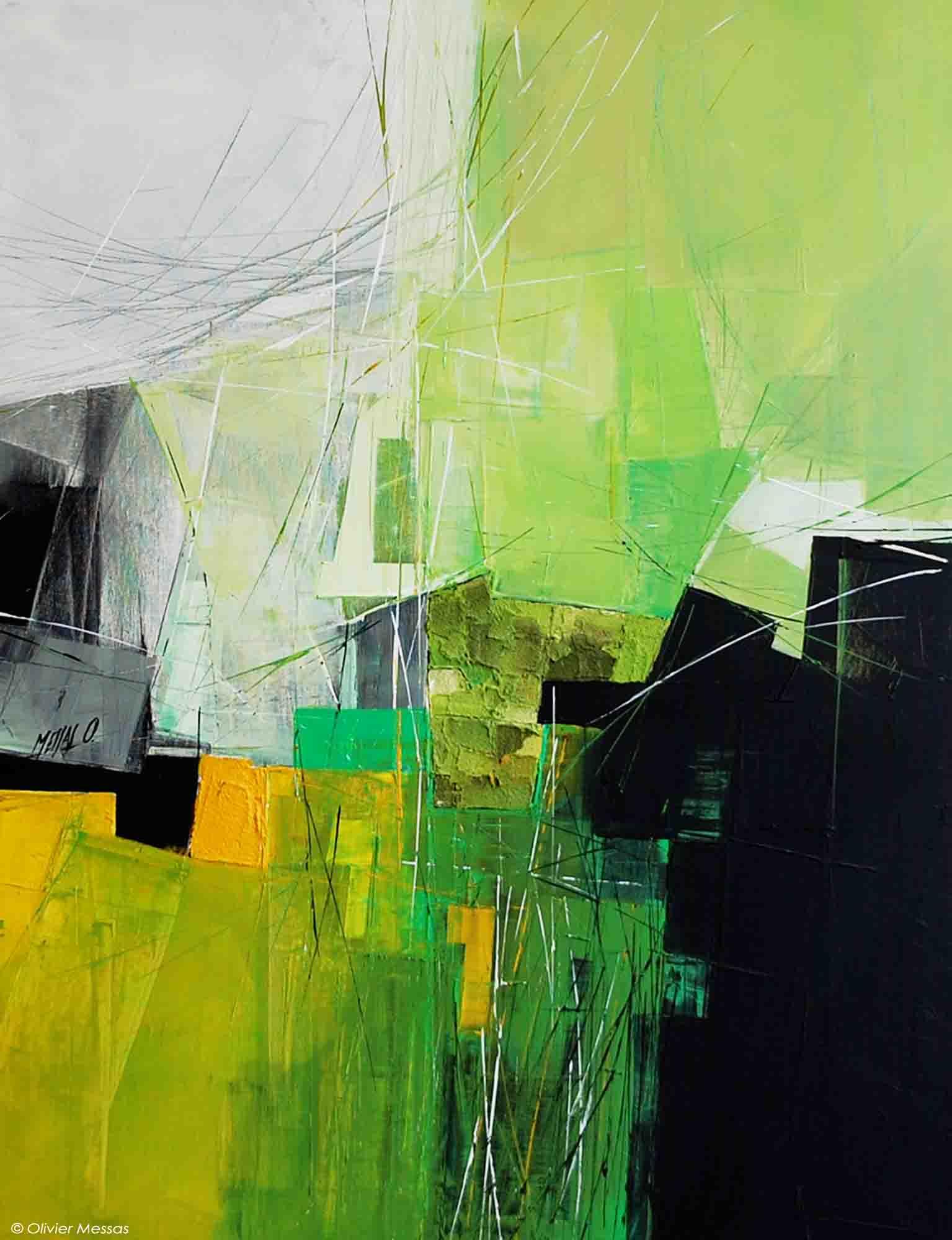 Paysage en vert... - 80cm x 60cm