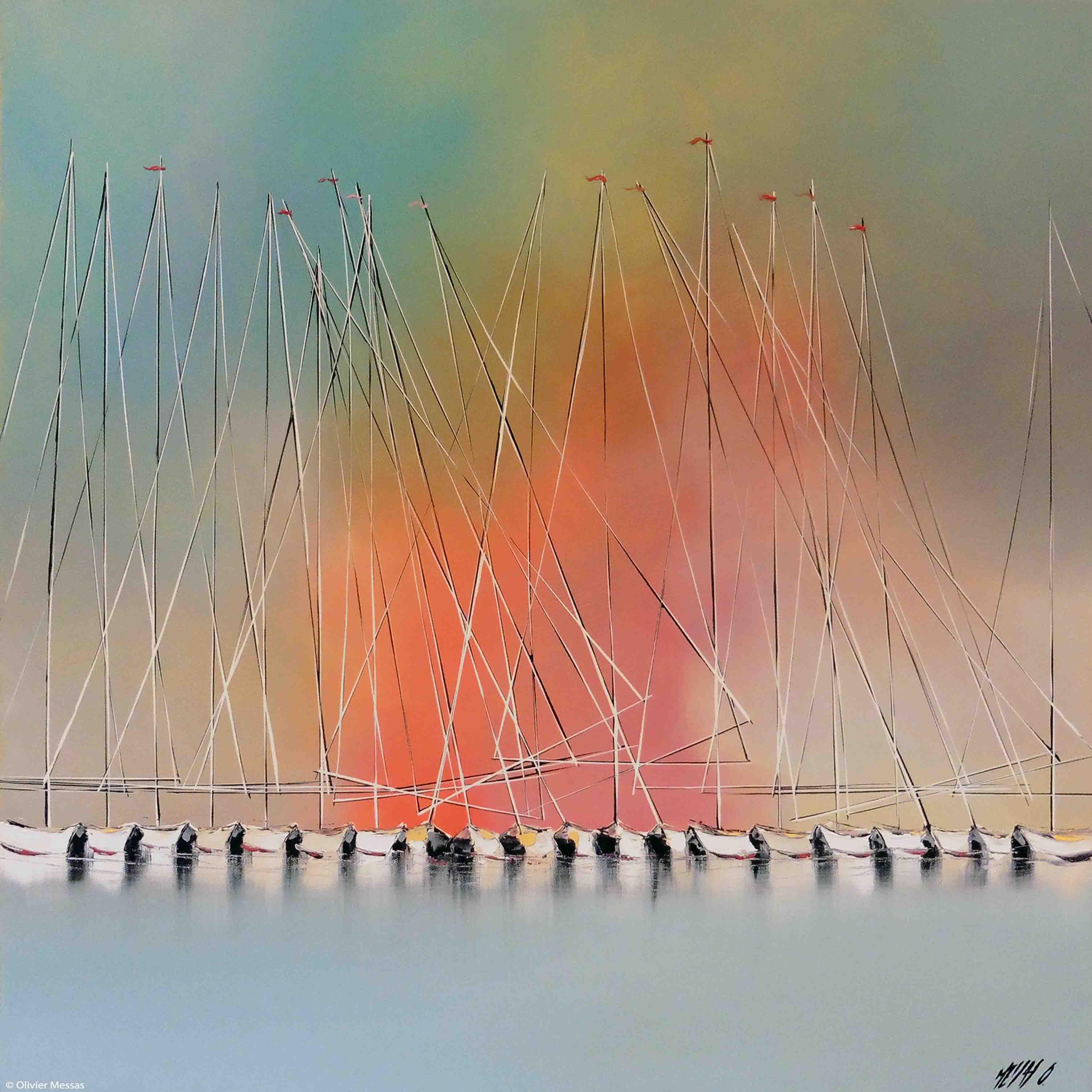 Les voiliers de l'aurore... II | 80x80cm