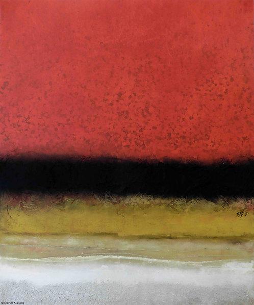Horizon en rouge... | 120x100cm