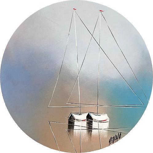 À travers le hublot... les 2 voiliers... | 50cm