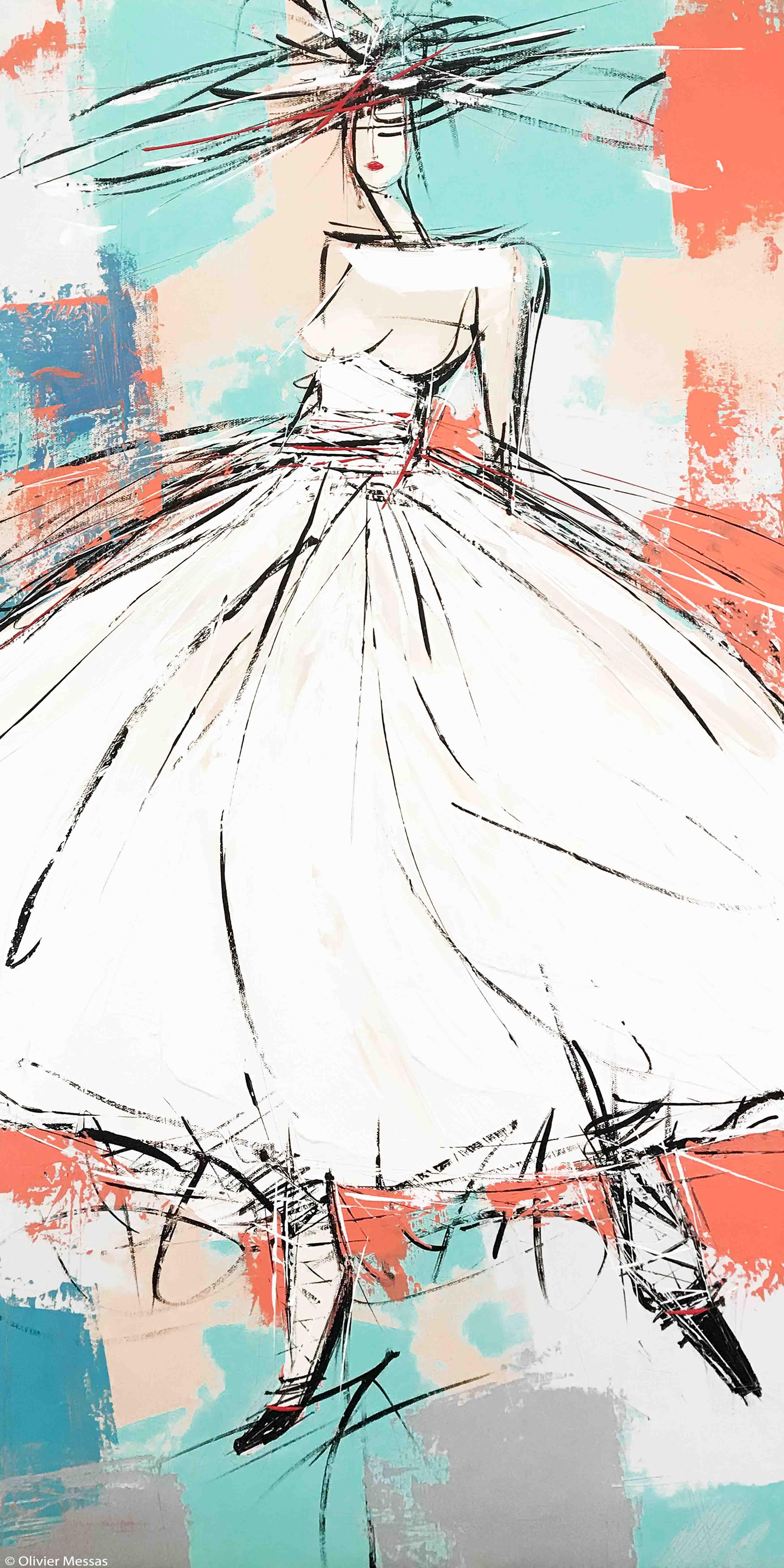 La fille à la robe blanche | 100x50