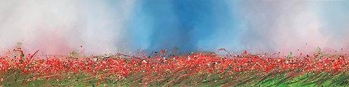 Bonheur à l'horizon... Le temps des coquelicots... | 50 x 200 cm