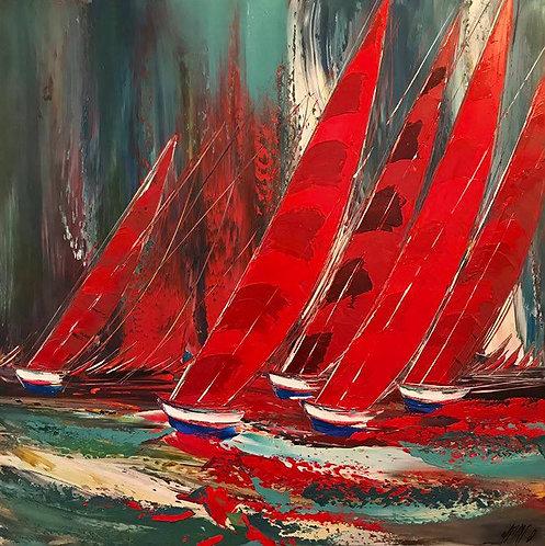 La régate rouge... | 100x100cm