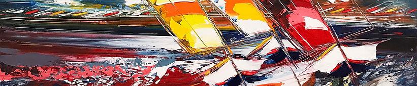 Les voiliers du soleil levant 120x80cm.j