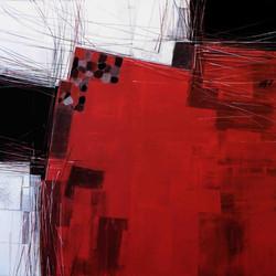 Paysage en rouge, 100x100cm