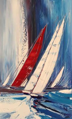 Le voilier rouge..., 100x60cm