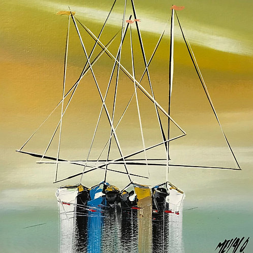 Silence en mer... | 24x24cm [cadre 40x40cm]