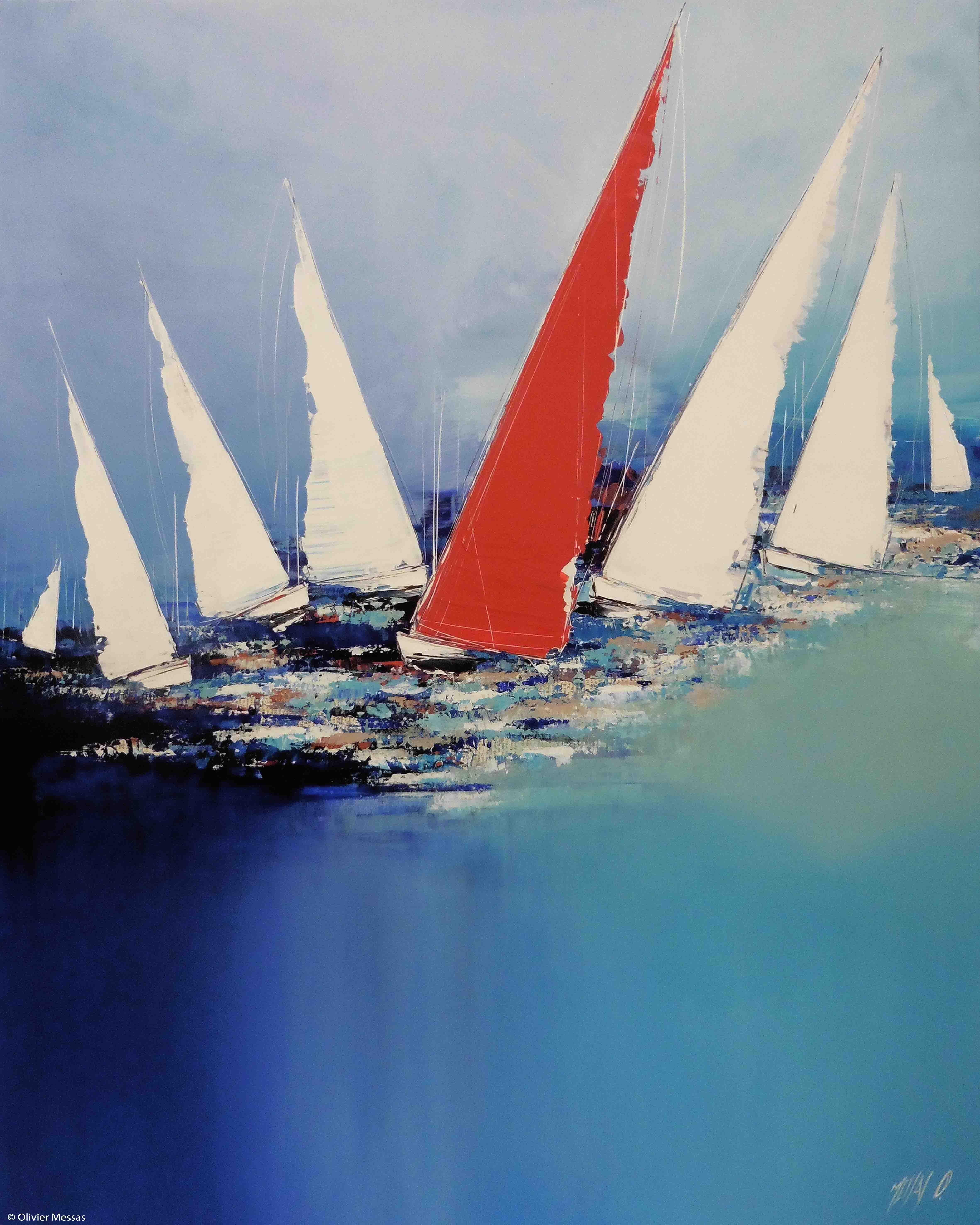 La voilier rouge..., 100cm x 80cm