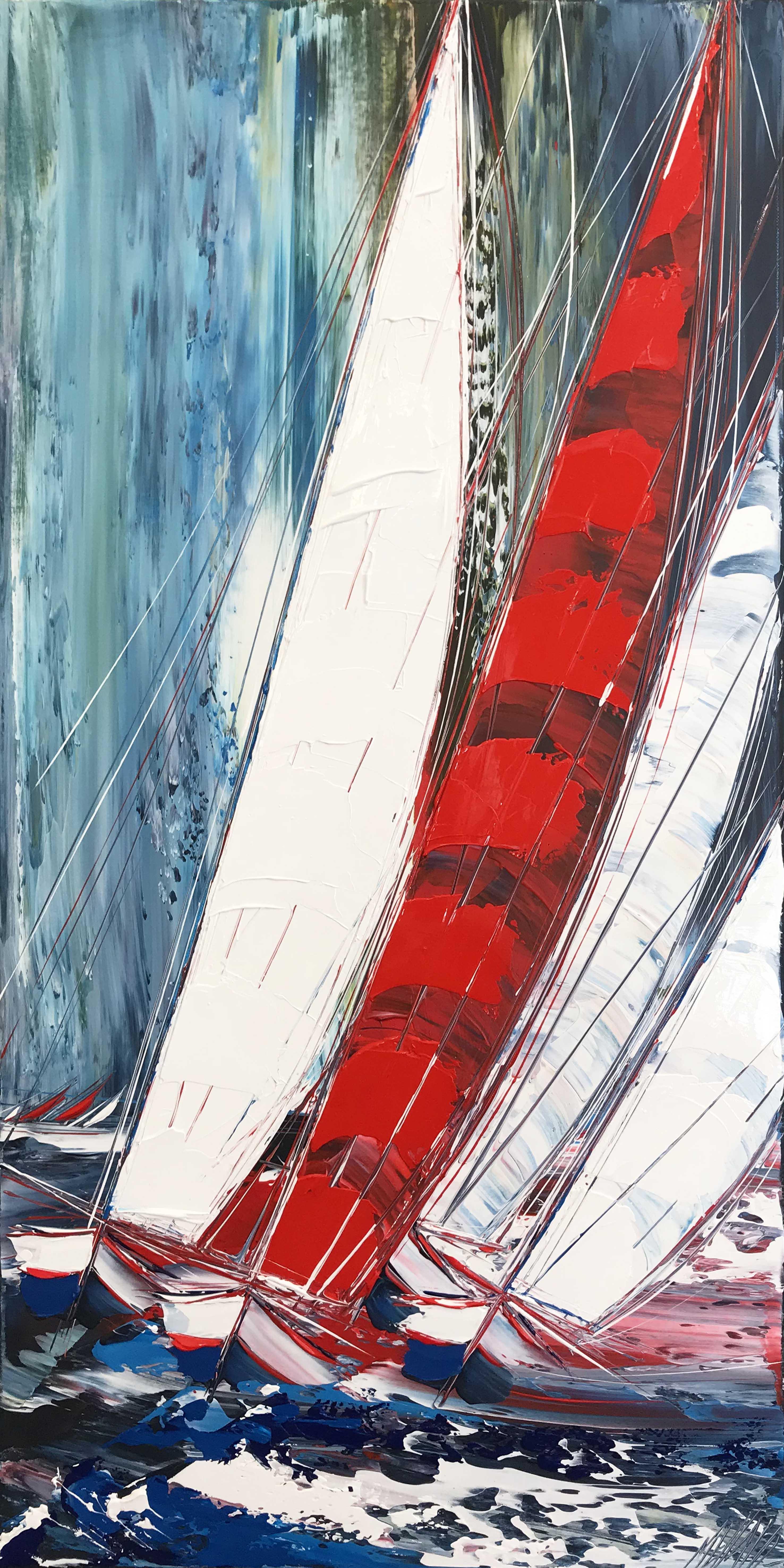 La grande voile rouge...   100x50cm