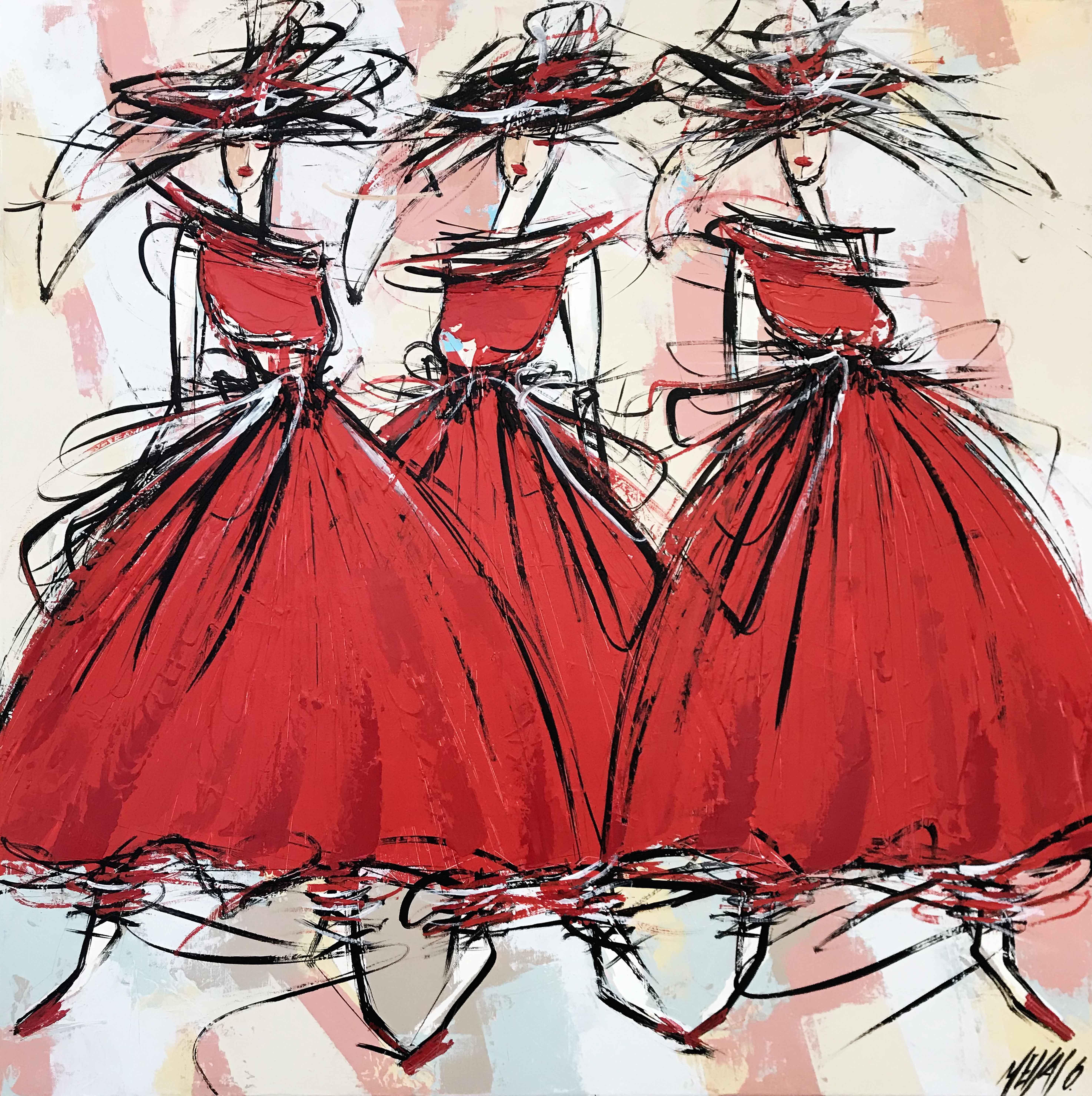 Les 3 danseuses de flamenco... | 80x80cm