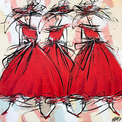 Les 3 danseuses de flamenco...   80x80cm