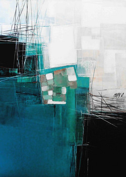 Paysage en bleu -  70cm x 50cm