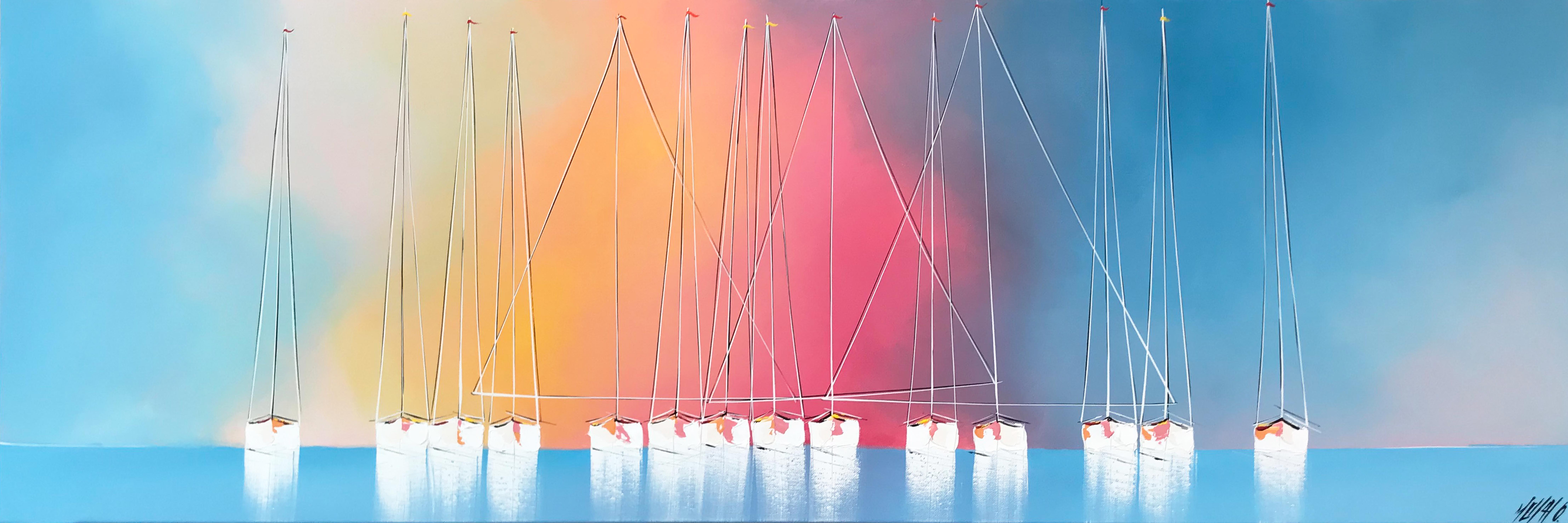 Les voiliers blanc de l'horizon... | 50x150cm