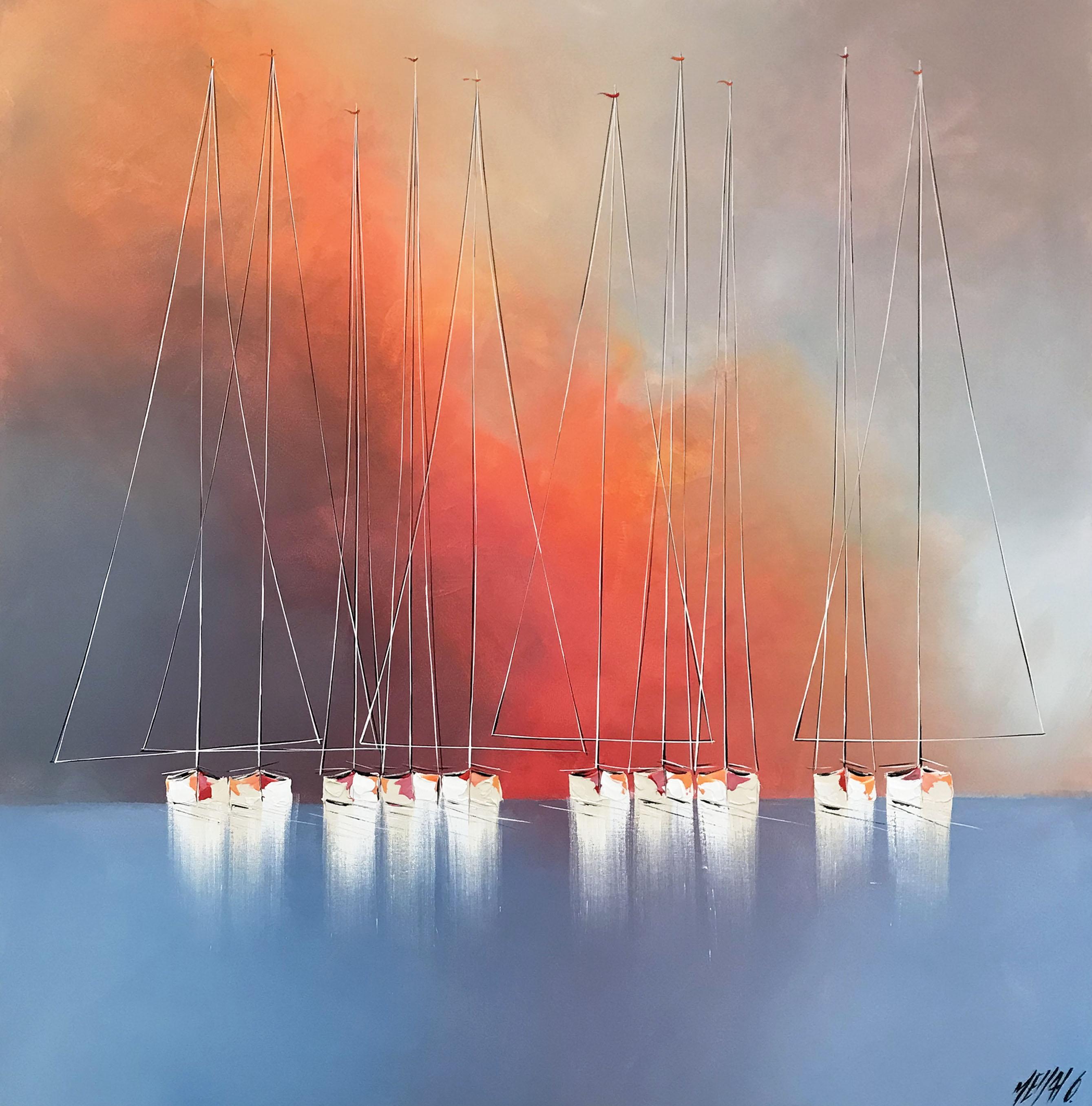 Les voiliers du crépuscule, 100x100