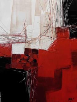 Paysage rouge & noir -  60cm x 80cm