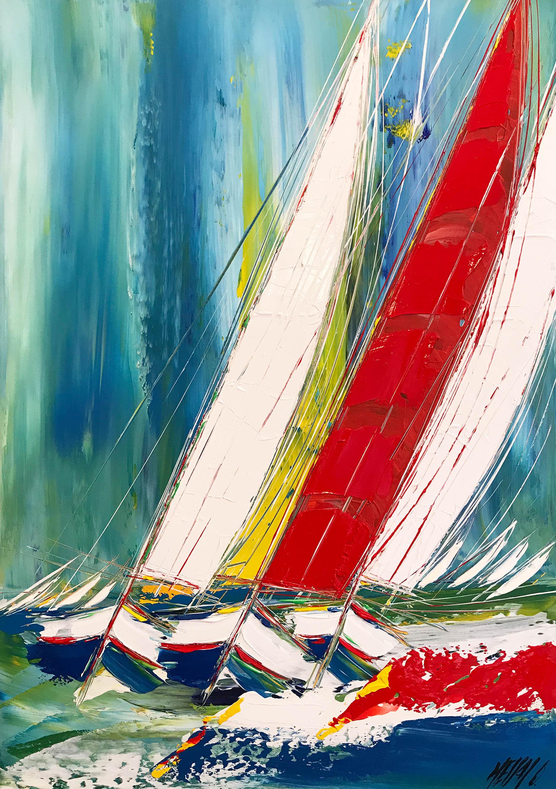 La voile rouge...   70x50cm