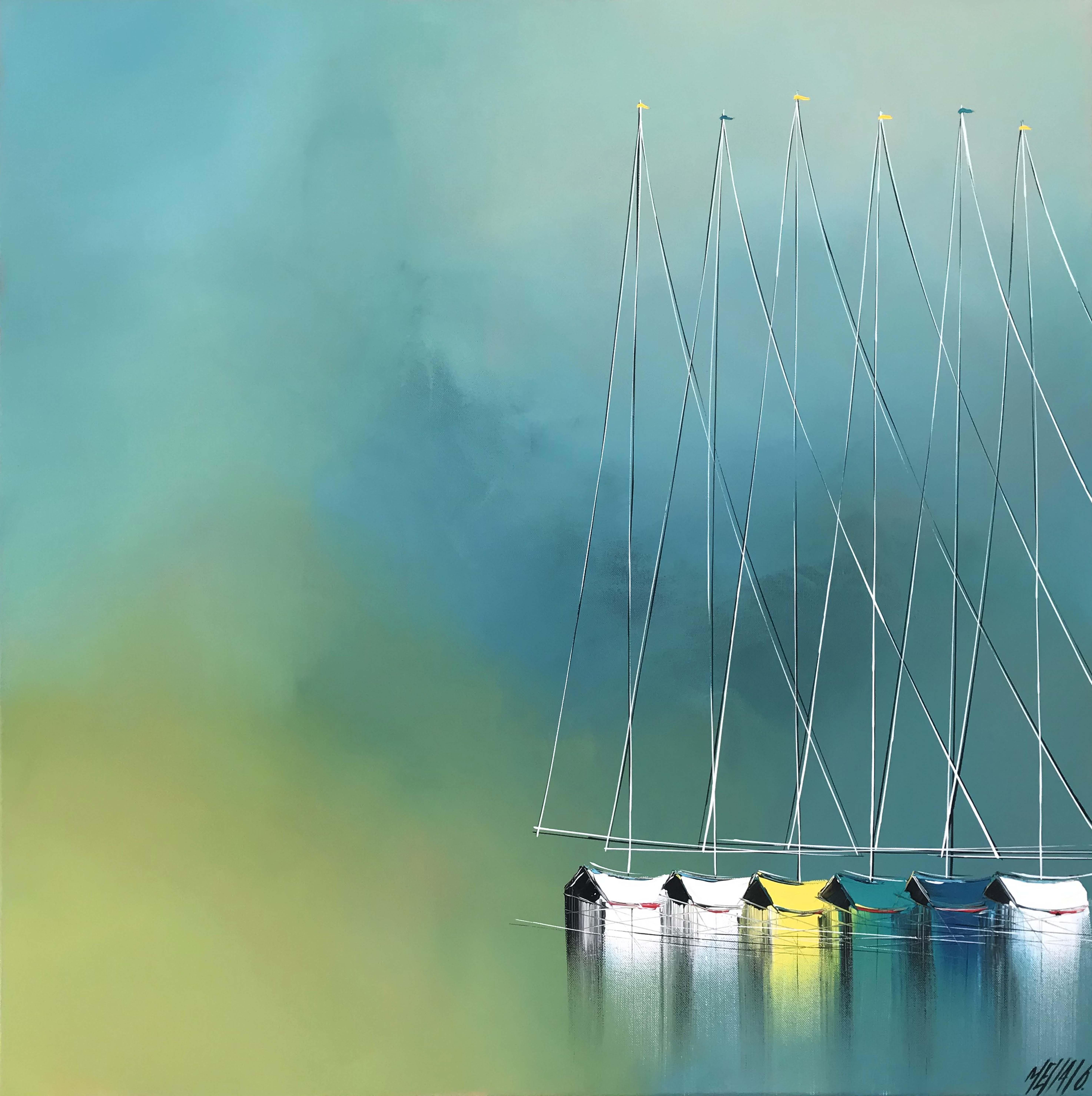 Horizon en bleu... | 80x80cm