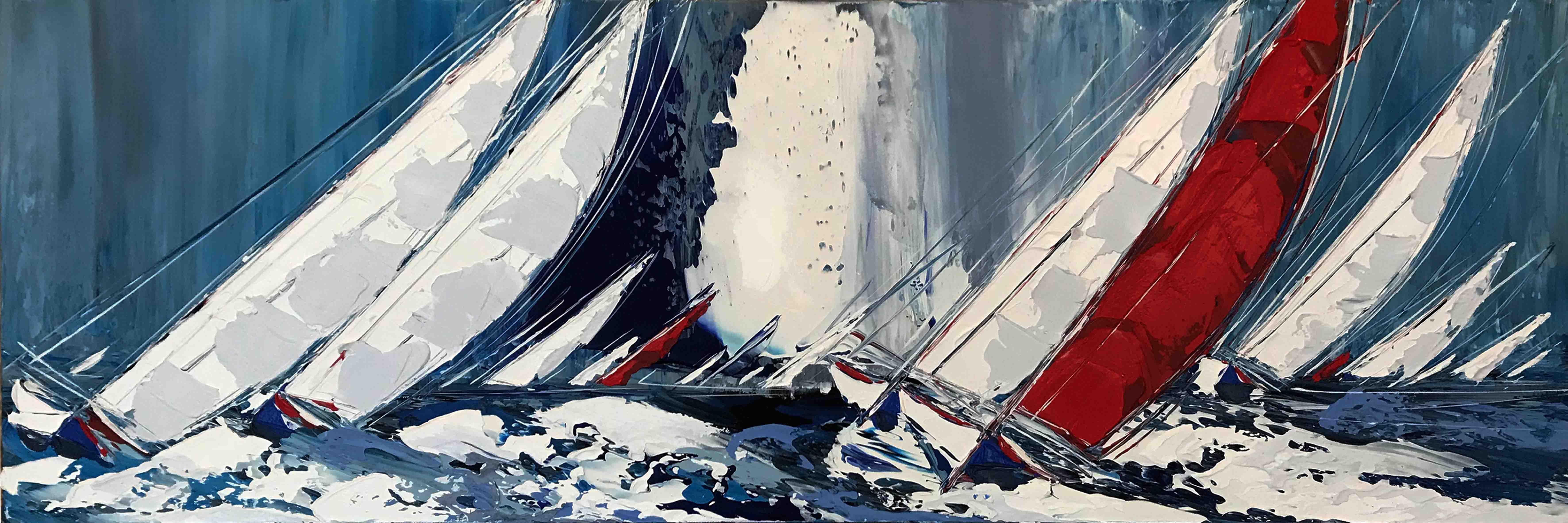 Le voilier rouge IV, 40x120cm