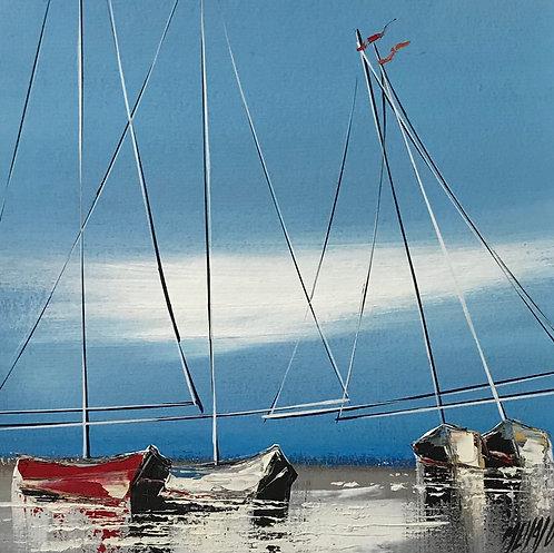 Le voilier rouge... | 19x19cm [cadre 40x40cm]