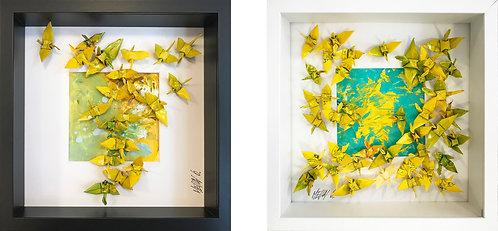 COMPOSITION VII   27x60x5cm (2 oeuvres sur papier et encadrées)