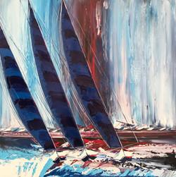 Les grandes voiles bleues... | 100x100cm