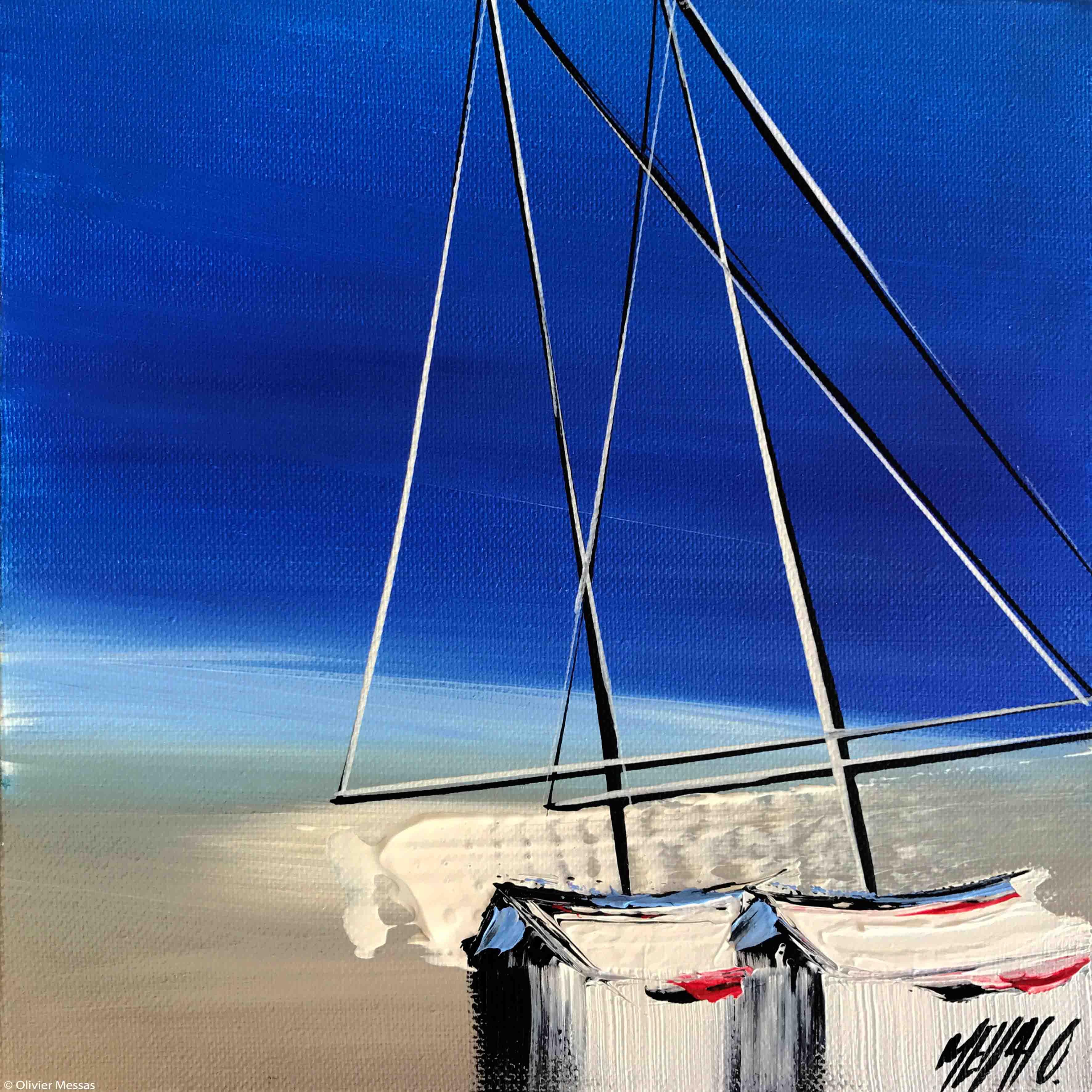Horizon en bleu, 20x20cm