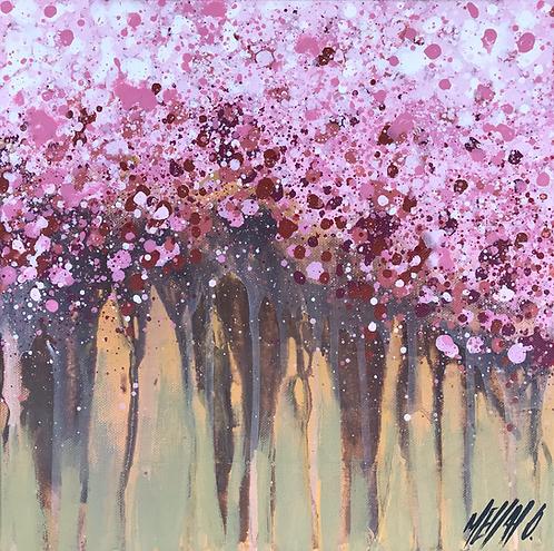 Les cerisiers en fleurs... | 30x30cm 🟠 (RÉSERVÉE | RESERVED | RESERVIERT)