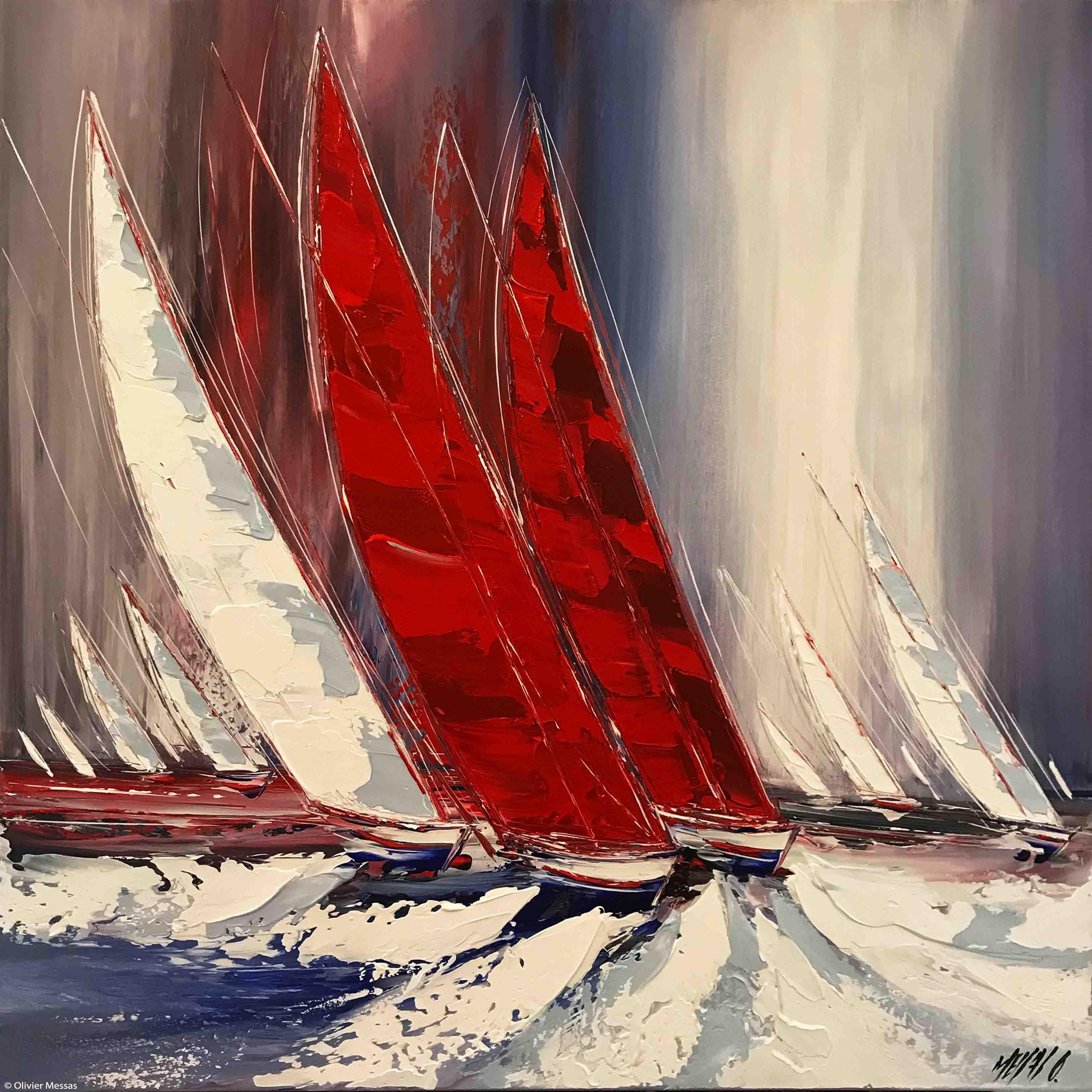 Les deux voiliers rouges..., 80x80cm