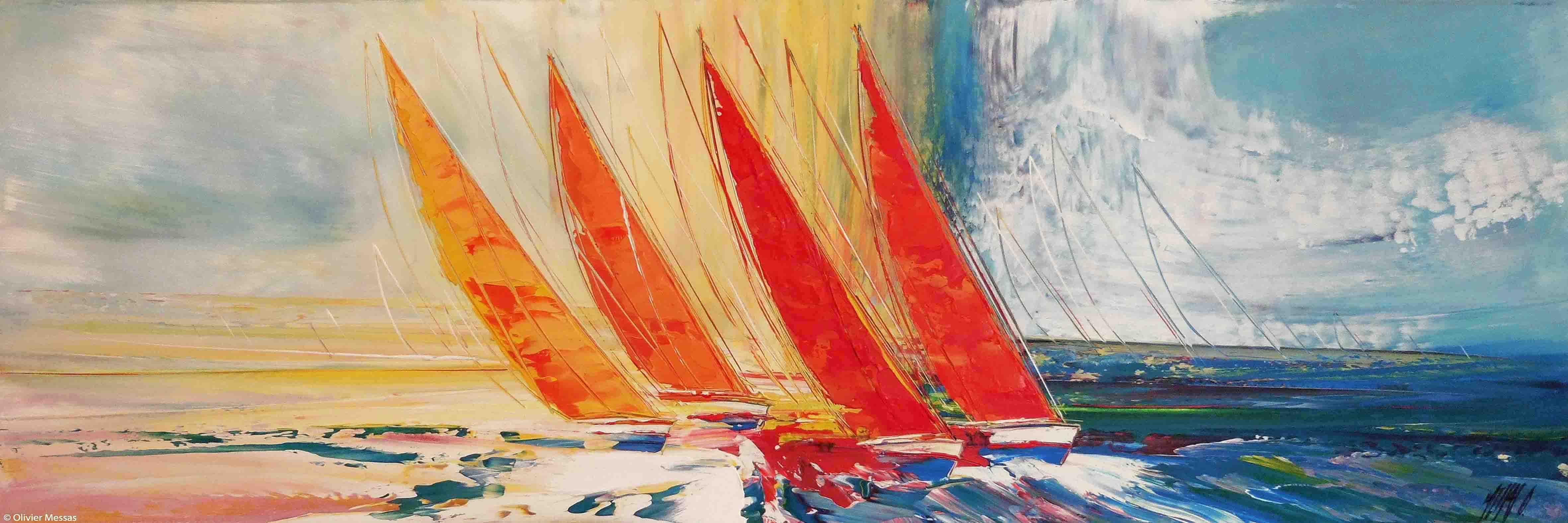 Les voiliers du Levant, 40x120cm