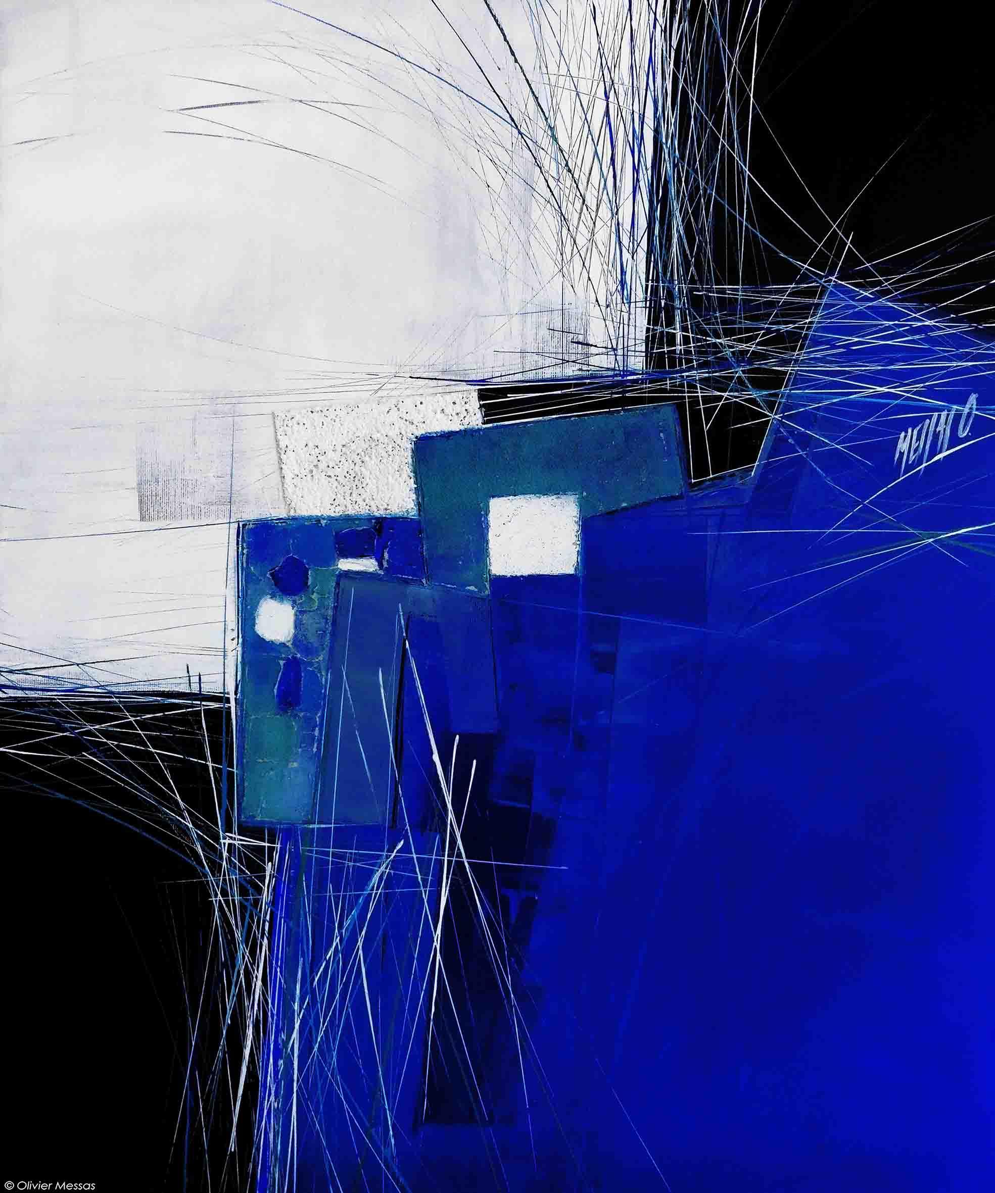Paysage en bleu marine, 60 x 50cm