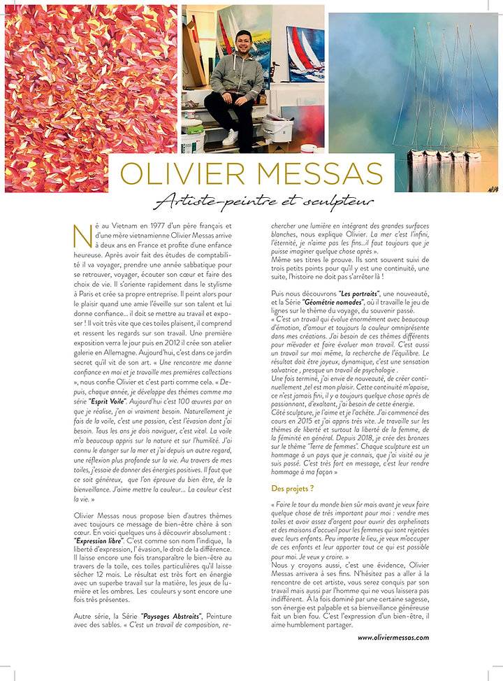 OLIVIER MESSAS 1 PAGE magazine Turquoise