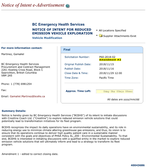 BCEHS Releases Notice of Intent for Reduced Emission Vehicle Exploration