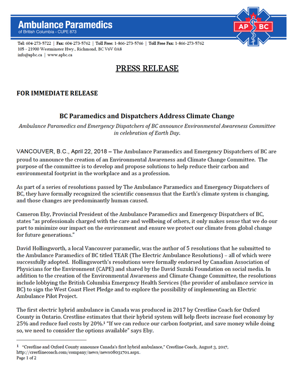 CUPE 873 Establishes Environmental Awareness and Climate Change Committee