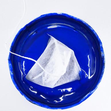 Process photo - tea bag in acrylic paint