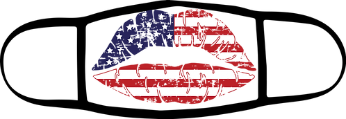 Distress Flag Lips - 3 ply Mask - Special $3 Shipping Option at Checkout