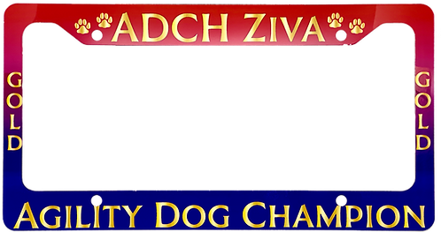 Full Color Agility Title Aluminum License Plate Frame