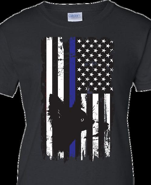 Grunge Blue Flag w/Dog
