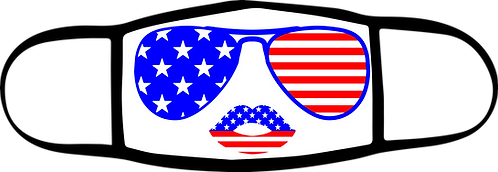 Glasses and Flag Lips - 3 ply Mask - Special $3 Shipping Option at Checkout
