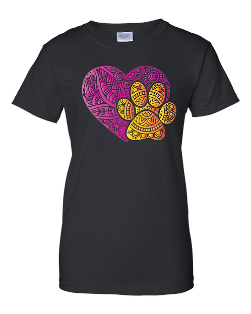 Zentangle Heart & Paw (various color combinations)