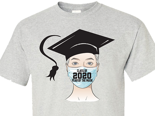 Ash Color Shirt - Grad wearing Mask
